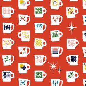 King of Cups* (Tomato Soup) || vintage coffee mugs retro kitchen geometric milk glass midcentury modern atomic