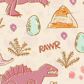 dinosaur and flowers