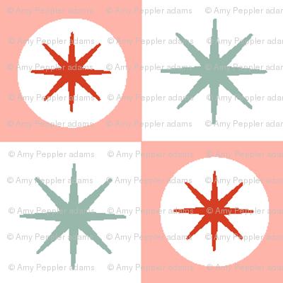 Spiffy* (Peach Halves) || midcentury modern atomic stars starburst check checkerboard geometric picnic diner