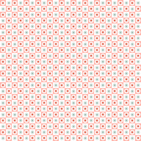Spiffy* (Peach Halves) || midcentury modern atomic stars starburst check checkerboard geometric picnic diner fabric by pennycandy on Spoonflower - custom fabric
