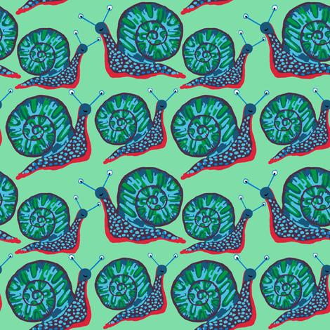 Snail [Dotty Blue] in dew giftwrap - kheckart - Spoonflower