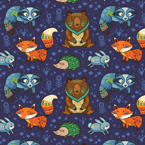 Woodland animals fabric by penguinhouse on Spoonflower - custom fabric