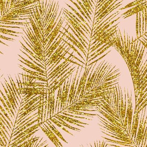 gold glitter palm leaves - blush, mini