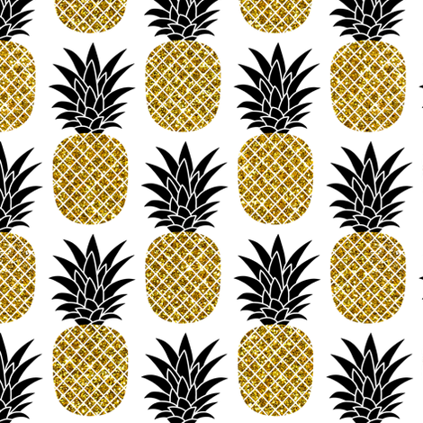 gold glitter pineapples – black and gold on white, small. pineapples faux gold imitation tropical white background hot summer fruits shimmering metal effect texture fabric wallpaper giftwrap fabric by mirabelleprint on Spoonflower - custom fabric