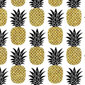 gold glitter pineapples – black and gold on white, small. pineapples faux gold imitation tropical white background hot summer fruits shimmering metal effect texture fabric wallpaper giftwrap