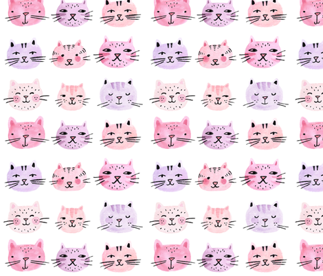 Cat Lady Watercolor fabric by ellolovey on Spoonflower - custom fabric