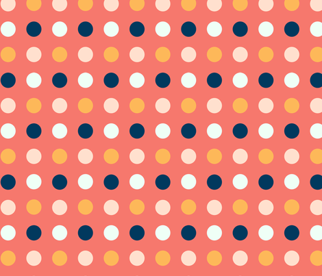 Big Multi Colored Dots on Coral Background fabric - nonico - Spoonflower