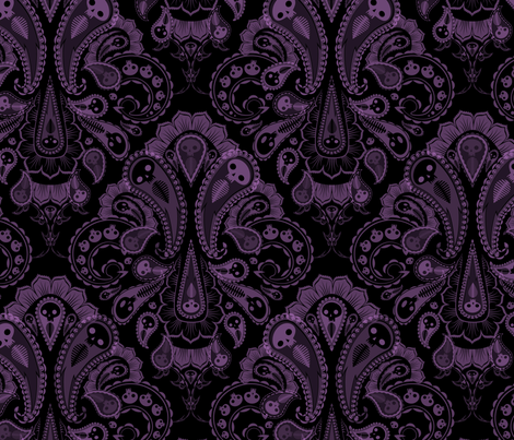 Ghost Paisley - purple & black fabric by thecalvarium on Spoonflower - custom fabric
