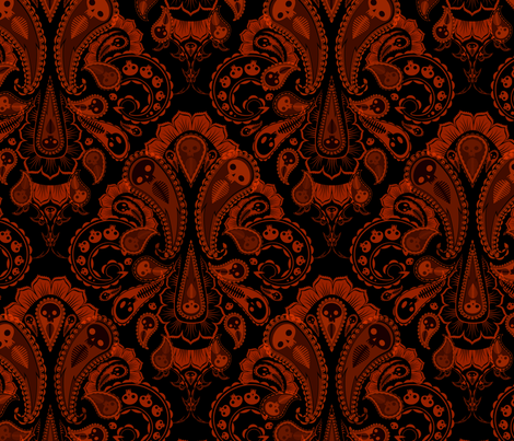 Ghost Paisley - red & black fabric by thecalvarium on Spoonflower - custom fabric