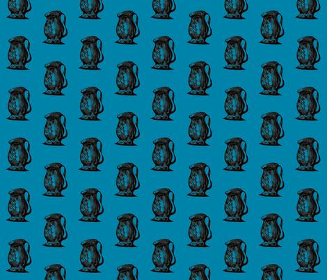 Vintage Ewers on Turquoise fabric by rhondadesigns on Spoonflower - custom fabric