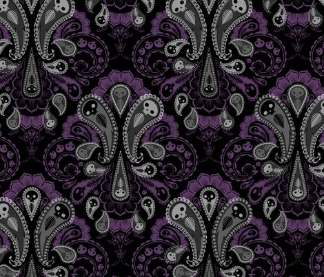 Ghost Paisley - gray & purple fabric by thecalvarium on Spoonflower - custom fabric