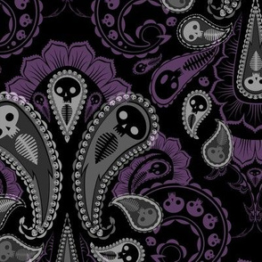 Ghost Paisley - gray & purple