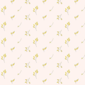 Small Leafy Flowers in Yellow and Taupe on Soft Blush Background