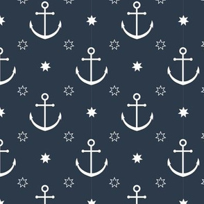 Anchors in Navy // Nautical monochromatic repeat pattern // for men and women // by Zoe Charlotte