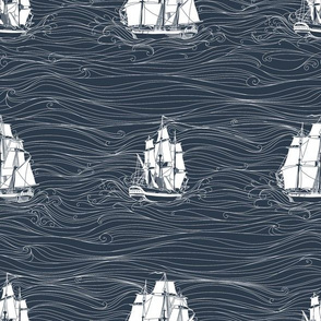 Stormy Seas // Nautical monochromatic repeat pattern // for men and women // by Zoe Charlotte