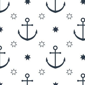 Anchors in White // Nautical monochromatic repeat pattern // for men and women // by Zoe Charlotte