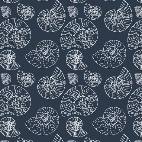 Fossils in Navy // Seashells // Nautical monochromatic ...