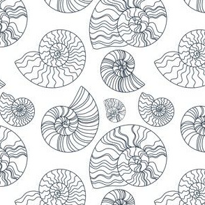 Fossils in White // Seashells // Nautical monochromatic repeat pattern // for men and women // by Zoe Charlotte
