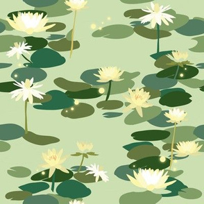 Tiana Waterlilies in Green // Beautiful floral repeat pattern by Zoe Charlotte