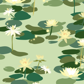 Tiana Waterlilies in Green