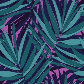 Jungle Ferns in Violent Violet // Tropical print // Unisex for men and women // bright repeat pattern by Zoe Charlotte