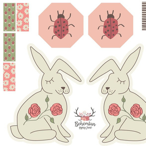 Octagon Ladybug Sensory Toy + Bunny Plushie - Cut & Sew - Woodland Fairytales Collection