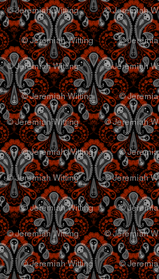 Ghost Paisley - gray & red