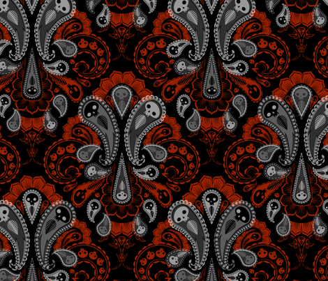 Ghost Paisley - gray & red fabric by thecalvarium on Spoonflower - custom fabric