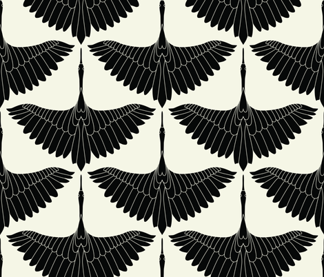 Swan Song // Black on Cream fabric by jennykate on Spoonflower - custom fabric