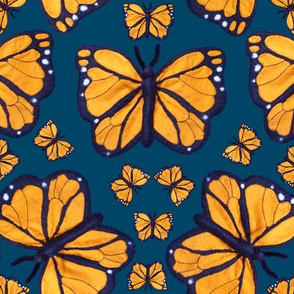 Felt Monarch Butterfly in Dark Blue