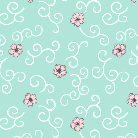 Cherry Blossom and Swirls - turquoise fabric by hazel_fisher_creations on Spoonflower - custom fabric