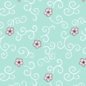 Cherry Blossom and Swirls - turquoise