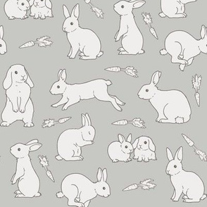 Rabbits - monochrome grey