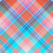DREAM OF AN OCEAN TURQUOISE ORANGE SEA GARDEN DIAGONAL LOZENGE PLAID