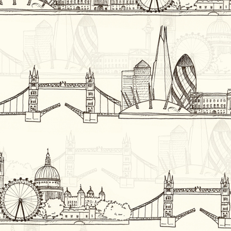 London Skyline (smaller scale) fabric by hazel_fisher_creations on Spoonflower - custom fabric