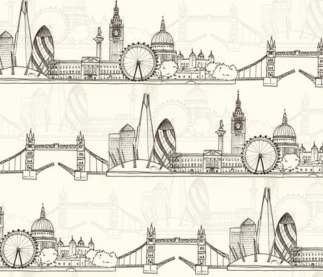 London Skyline (larger scale) fabric by hazel_fisher_creations on Spoonflower - custom fabric