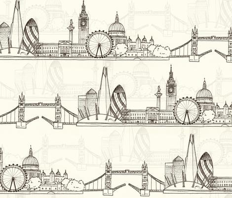 London Skyline (larger scale) fabric by hazelfishercreations on Spoonflower - custom fabric