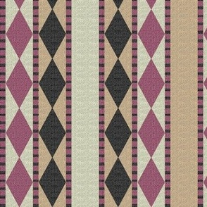 Diamonds and Stripes Berry and Beige