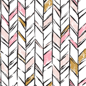 Hand-drawn Herringbone // Rose Gold