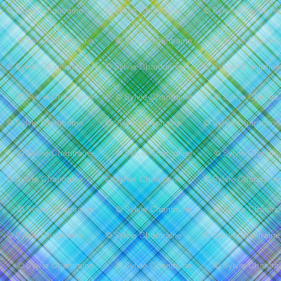 DREAM OF AN OCEAN BLUE SEA GARDEN DIAGONA DIAMOND PLAID