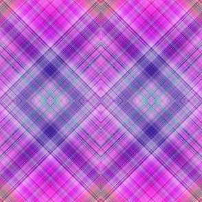 DREAM OF AN OCEAN HAPPY PINK SEA GARDEN DIAGONAL LOZENGE PLAID