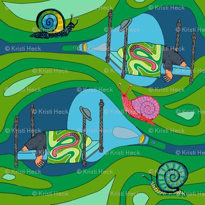 Groovy green tunnels w flashlights: dream mole