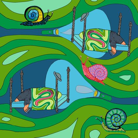 Groovy green tunnels w flashlights: dream mole fabric by kheckart on Spoonflower - custom fabric