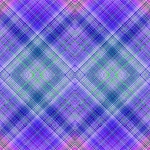 DREAM OF AN OCEAN PURPLE SEA GARDEN DIAGONAL LOZENGE PLAID