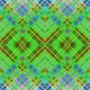 GRUNGE DIAGONAL PLAID 1 BLUE GREEN GRASS