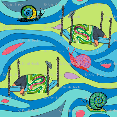 Groovy blue tunnels w snails: dream mole
