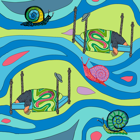 Groovy blue tunnels w snails: dream mole fabric by kheckart on Spoonflower - custom fabric