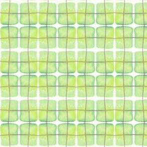 Hand Painted Green Plaid