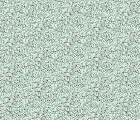 Line flowers/mint fabric by unclemamma on Spoonflower - custom fabric