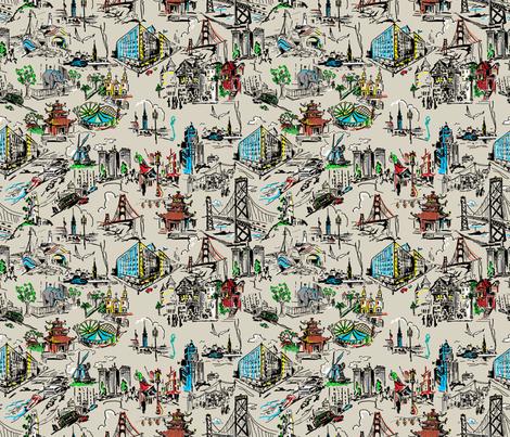 San Francisco Ecru fabric by hollycejeffriess on Spoonflower - custom fabric